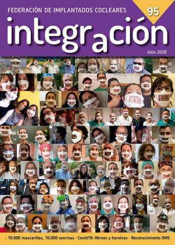 Portada de la REvista Integración 95 con imágenes de personas con mascarillas comunicativas