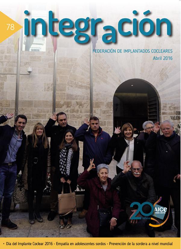 Portada Revista Integración núm 78. Implantados Cocleares ante las Cortes Valencianas